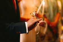 Close Up Of Wedding Ring On Little Finger Of The Groom For Orthodox Wedding