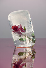 Bright Red Rose Frozen Into A Block Of Ice