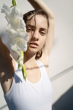 Young Woman With White Flowers