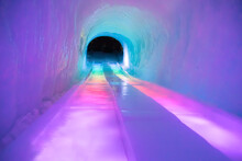 Ice Slide In A Tunnel With Rainbow Colors