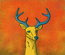 Illustration Of Yellow Deer On Red Background