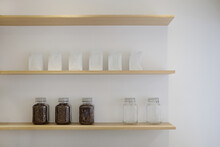 Coffee Bean Jar And Coffee Bag On A Shelf