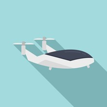 Flying Unmanned Taxi Icon, Flat Style