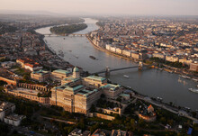 Aerial View Of Budapest And The Danube.