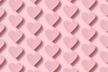 Papercraft Pastel Pink Hearts Pattern With Shadows.