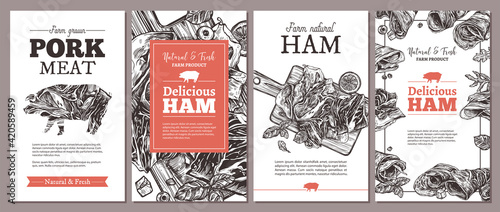 Fototapeta Design of cards, posters, labels or tags for meat farm natural products. Templates with jamon, ham, pork with hand drawn greenery and vegetables. Layouts with sketch illustrations obraz