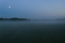 Misty Field Against Cloudless Evening Sky