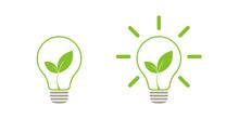 Green Leaf Light Lamp Energy Of Nature. Icon. Illustration