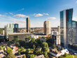Aerial view of Vilnius business district on sunny summer day.