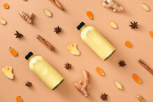 Golden Milk In The Bottle. Milk With Spices On The Table