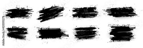 Obraz Ink brushstroke and paintbrush template with splashes grunge. Vector set black ink brush stroke. Dirty artistic design elements. Grunge splatter, dirt stain, brush with drops blots. Vector ink box - fototapety do salonu