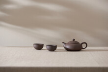 Clay Teapot For The Tea Ceremony. There Are 2 Ceramic Tea Files On The Stand