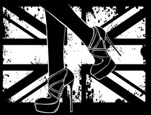 Elegant Sexy Women High Heel Shoe Silhouette In Black Background Vector Illustration