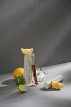 Herbal With Fresh Mint, Lemon, Ginger Cinamon On Carpet Background.