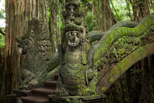 Bali Indonesia Temple Sculpture Moss Dragon Bridge Nature Antient