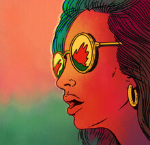 Portrait Illustration Of Surprised Beautiful Girl With Glasses