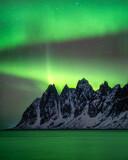 Saw tooth mountain ridge and northern lights