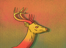 Illustration Of Yellow And Red Deer On Abstract Background