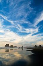 USA, Oregon, Bandon Beach. Sea Stacks At Twilight.