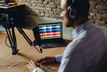 Screen With A Waveform Detail In A Podcast Studio