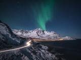 Bright winter night in arctic Norway