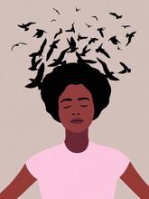 African American Woman Dreaming