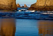 USA, Oregon, Bandon. Sunset On The Beach Sea Stacks.