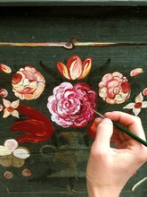 Acrylic Flower Painting On A Wooden Box Vol. 2