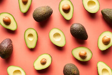 Whole And Cut Avocados Background