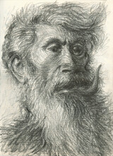 Portrait Drawing Of Two Face Man With Beast Features