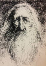 Portrait Drawing Of Old Druid Wizard
