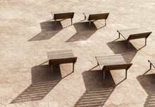 Chairs On A Boardwalk In New York City.