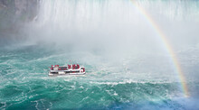 Tour Boat At Bottom Of Niagara Falls