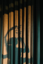 Shadow Of A Woman On Green Velvet Curtain