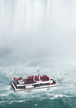 Tour Boat At Bottom Of Niagara Falls
