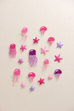 Many Beautiful Jellyfish And Different Starfish Over Beige Background