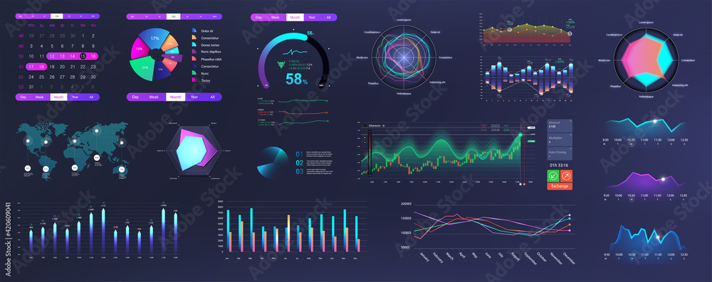 Fototapeta Modern Neon UI, UX and KIT elements interface with charts, graphics and infographics. Network management data screen with charts and diagrams HUD. Modern UI with Neon colors. Vector graphics set