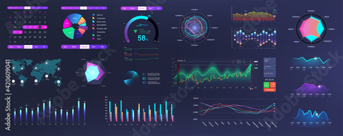 Modern Neon UI, UX and KIT elements interface with charts, graphics and infographics. Network management data screen with charts and diagrams HUD. Modern UI with Neon colors. Vector graphics set