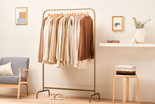 Cozy Room With Trendy Clothes And Various Decorations
