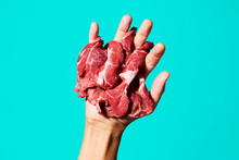 Raw Meat In His Hand
