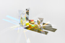 Geometric Glass Figures With Light Spectrum Refraction.