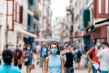 Woman Wearing Face Mask In Street