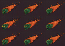 Halloween Beasts Pattern Flying Like Comets In Space