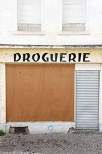Closed Drugstore Shop In France, Because Of Economic Downturn