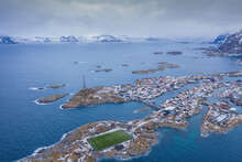 Soccer Field In The Arctic In A Rainy Day