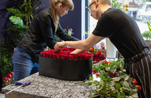 World Of Floristry, One Day At The Flower Shop Where A Team Of Florists Prepares 101 Red Rose Bouquet