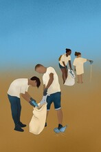 Anonymous Volunteers Cleaning A Beach