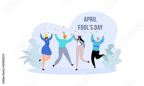 Obraz na plátně Celebration Happy April Fools Day background design