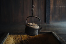 Japanese Traditional Hearth With Old Vintage Kettle
