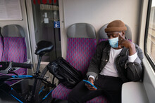 Man With Bicycle In The Train